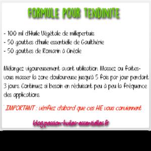 préparation aux huiles essentielles pour tendinite
