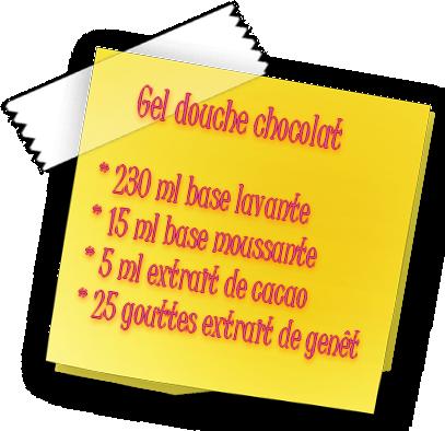 recette du gel douche chocolat