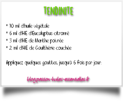 tendinite solution aromatique